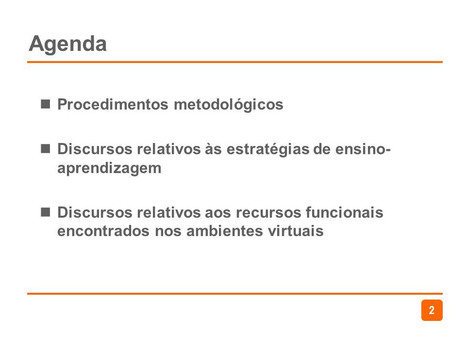 2 Agenda Procedimentos metodológicos Discursos relativos às estratégias de ensino- aprendizagem Discursos relativos aos recursos funcionais encontrado
