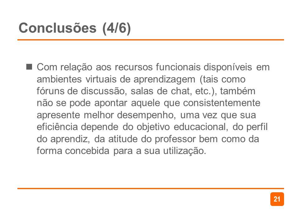 21 Conclusões (4/6) Com relação aos recursos funcionais disponíveis em ambientes virtuais de aprendizagem (tais como fóruns de discussão, salas de cha