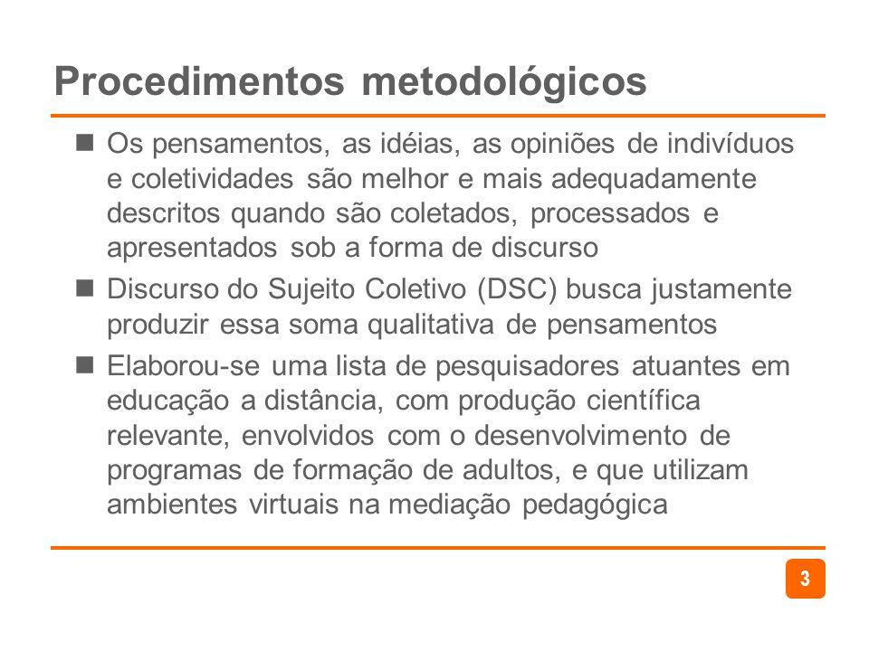3 Procedimentos metodológicos Os pensamentos, as idéias, as opiniões de indivíduos e coletividades são melhor e mais adequadamente descritos quando sã