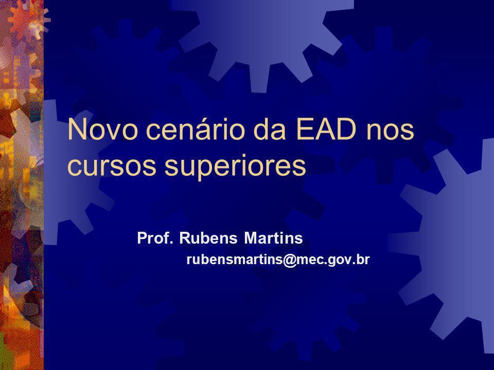 Novo cenário da EAD nos cursos superiores Prof. Rubens Martins rubensmartins@mec.gov.br