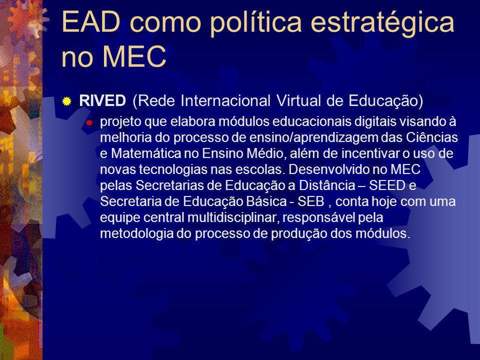 EAD como política estratégica no MEC RIVED (Rede Internacional Virtual de Educação) projeto que elabora módulos educacionais digitais visando à melhor