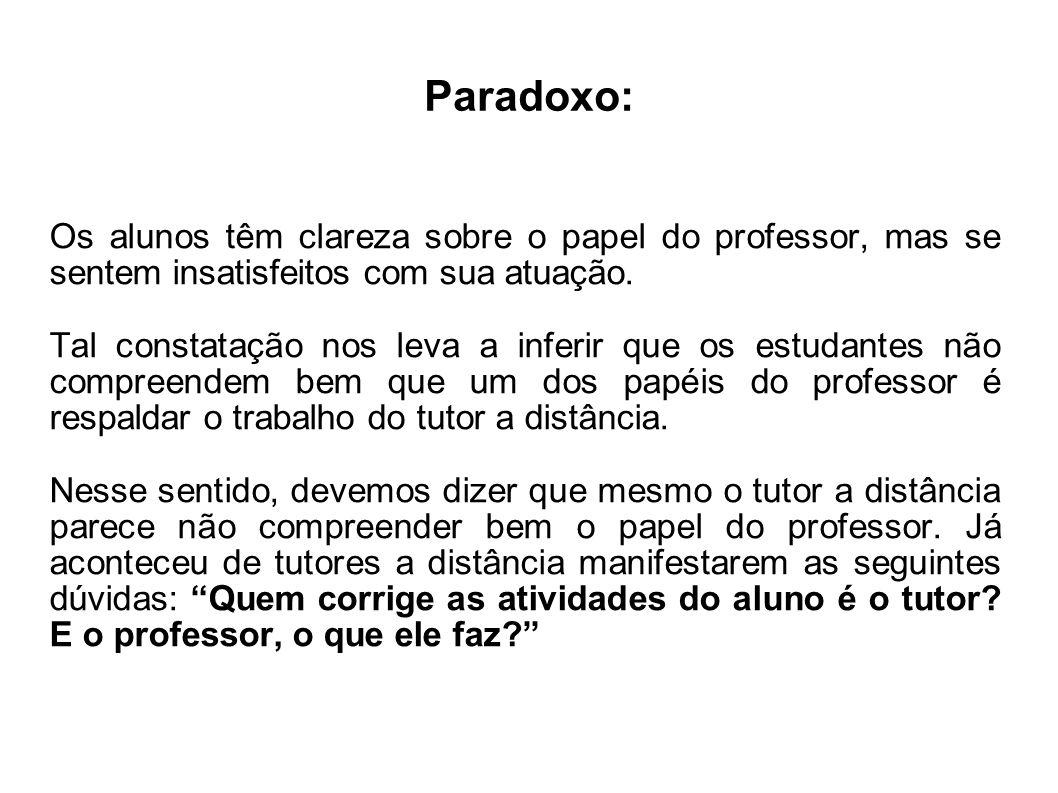 Paradoxo: Os alunos têm clareza sobre o papel do professor, mas se sentem insatisfeitos com sua atuação. Tal constatação nos leva a inferir que os est