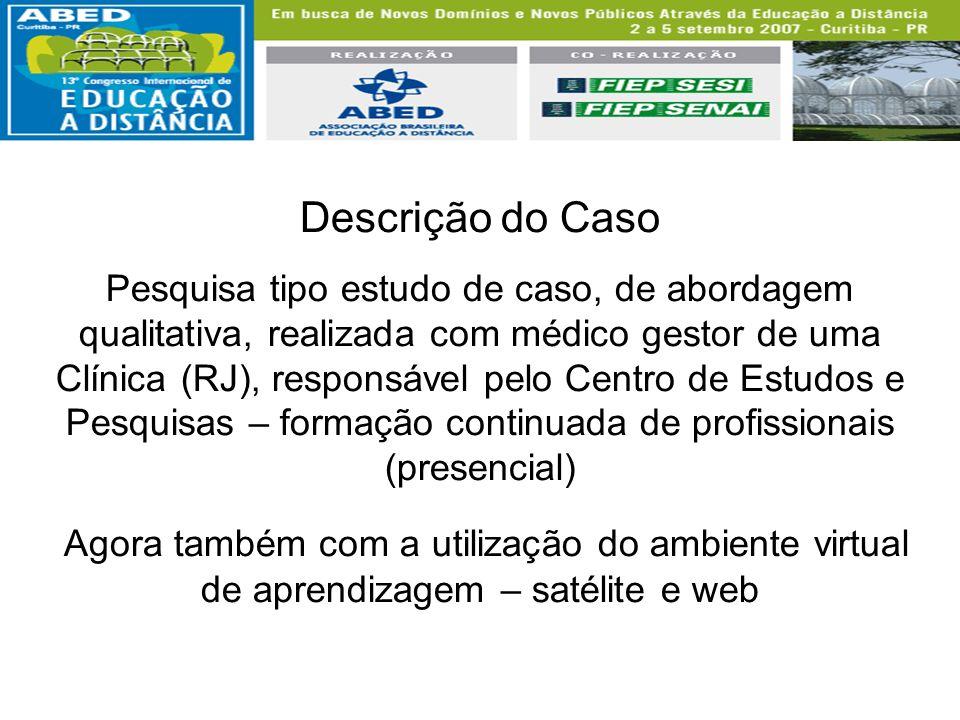 Descrição do Caso Pesquisa tipo estudo de caso, de abordagem qualitativa, realizada com médico gestor de uma Clínica (RJ), responsável pelo Centro de