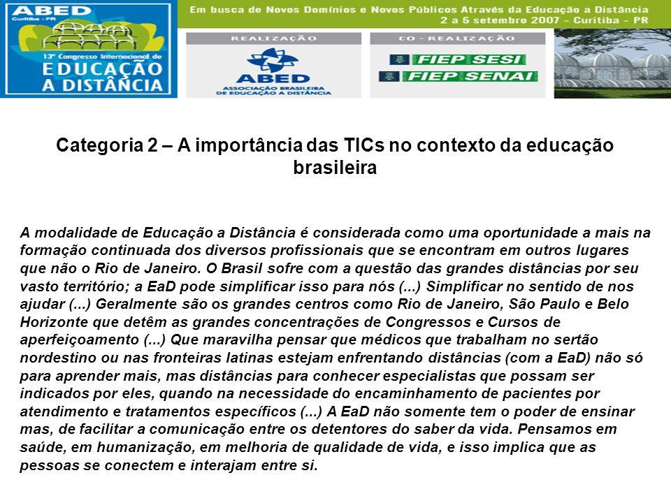 Categoria 2 – A importância das TICs no contexto da educação brasileira A modalidade de Educação a Distância é considerada como uma oportunidade a mai