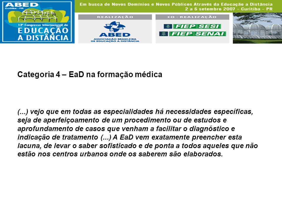 Categoria 4 – EaD na formação médica (...) vejo que em todas as especialidades há necessidades específicas, seja de aperfeiçoamento de um procedimento