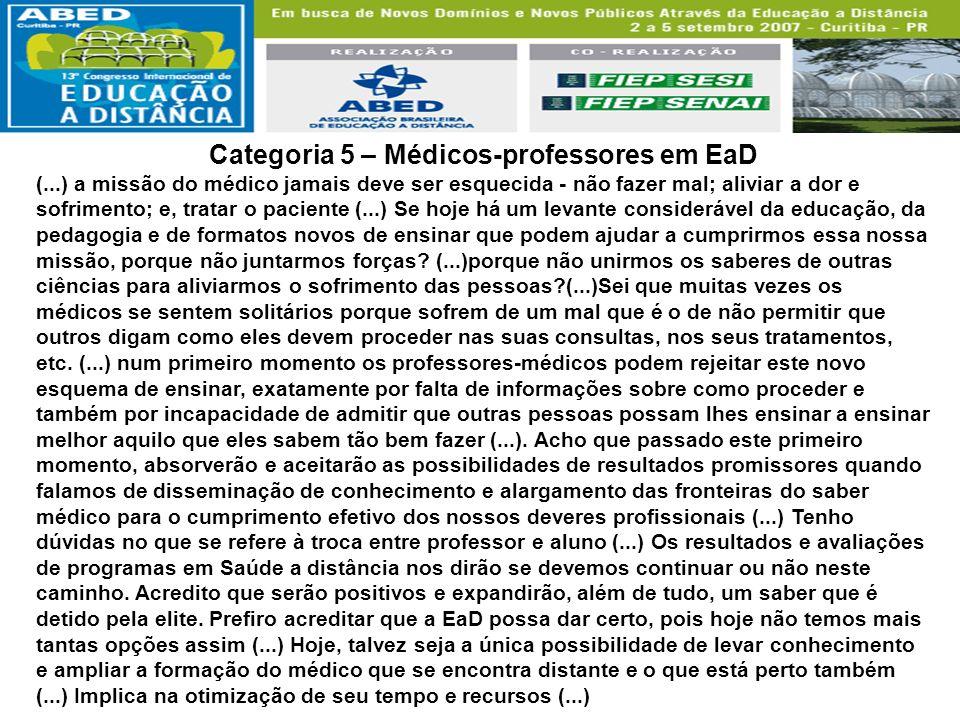 Categoria 5 – Médicos-professores em EaD (...) a missão do médico jamais deve ser esquecida - não fazer mal; aliviar a dor e sofrimento; e, tratar o p