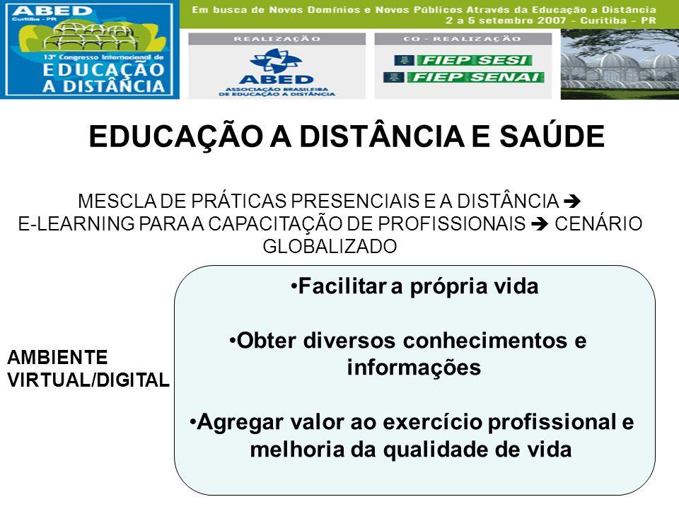 EDUCAÇÃO A DISTÂNCIA E SAÚDE MESCLA DE PRÁTICAS PRESENCIAIS E A DISTÂNCIA E-LEARNING PARA A CAPACITAÇÃO DE PROFISSIONAIS CENÁRIO GLOBALIZADO AMBIENTE
