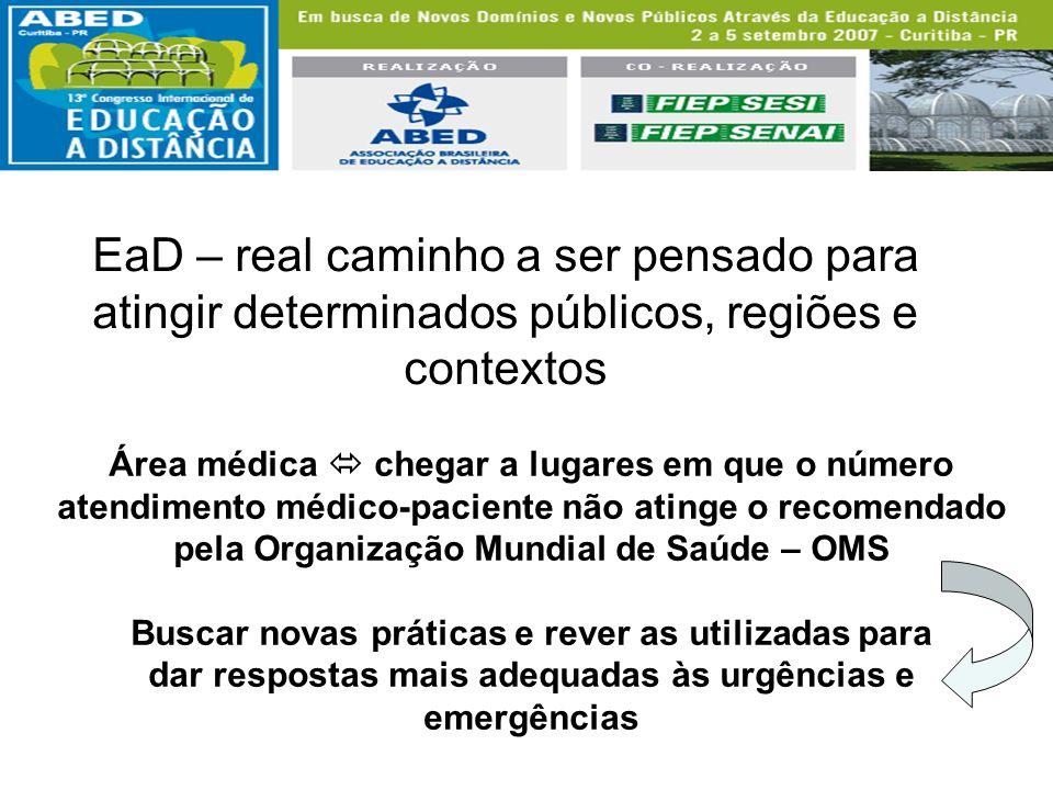 EaD – real caminho a ser pensado para atingir determinados públicos, regiões e contextos Área médica chegar a lugares em que o número atendimento médi