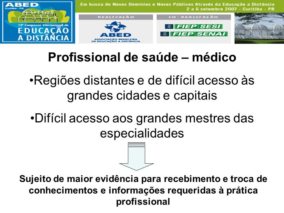 Profissional de saúde – médico Regiões distantes e de difícil acesso às grandes cidades e capitais Difícil acesso aos grandes mestres das especialidad
