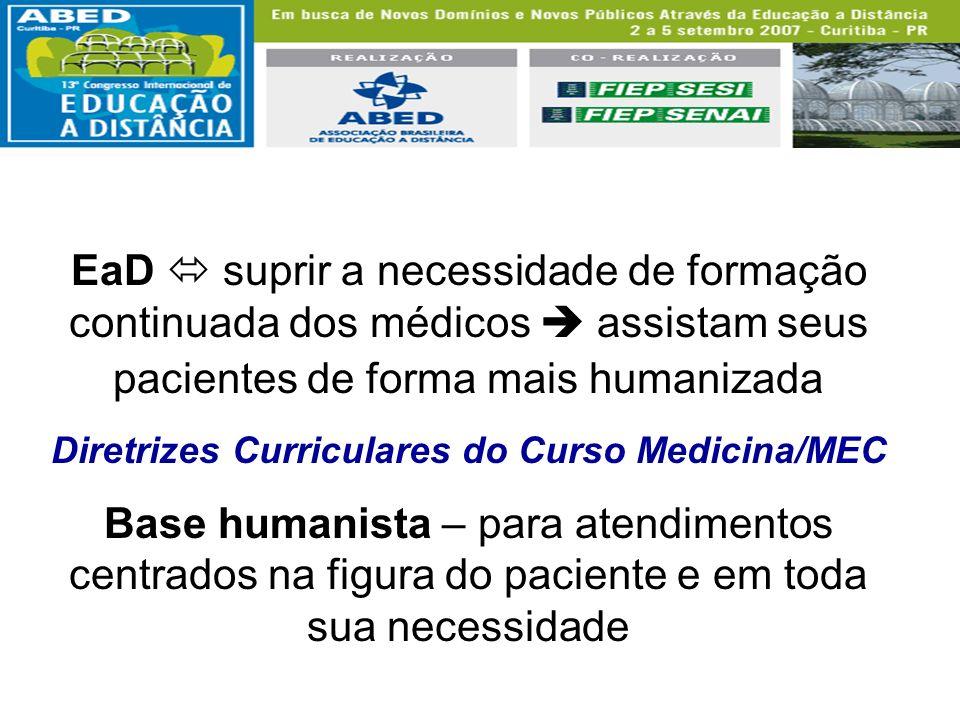 EaD suprir a necessidade de formação continuada dos médicos assistam seus pacientes de forma mais humanizada Diretrizes Curriculares do Curso Medicina