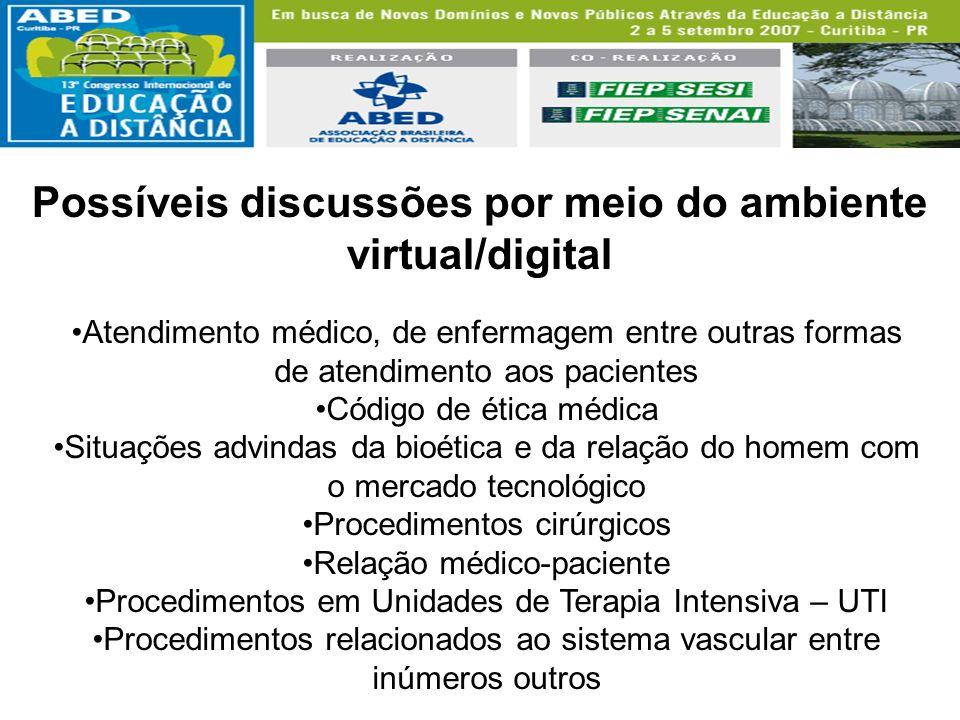 Possíveis discussões por meio do ambiente virtual/digital Atendimento médico, de enfermagem entre outras formas de atendimento aos pacientes Código de