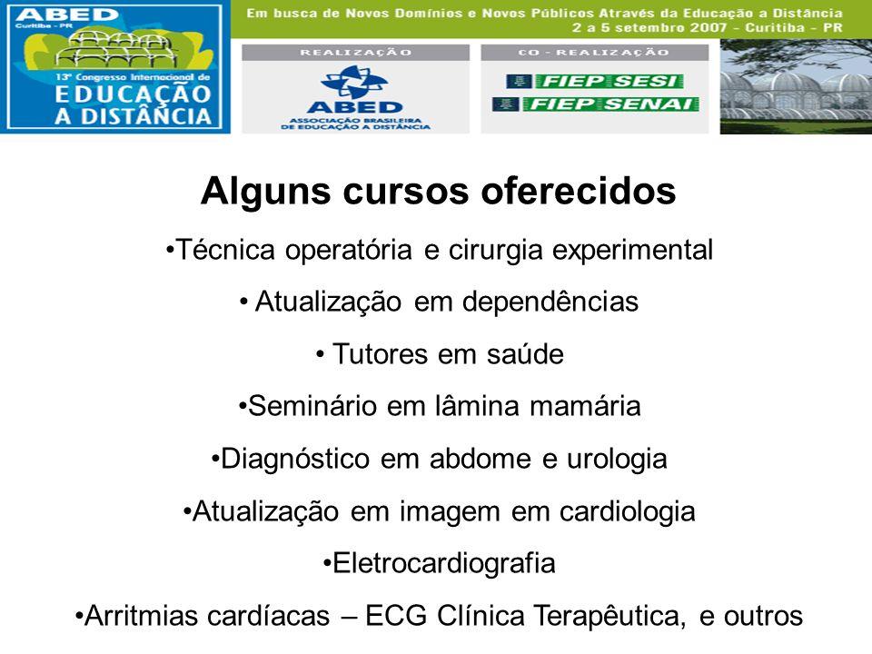 Alguns cursos oferecidos Técnica operatória e cirurgia experimental Atualização em dependências Tutores em saúde Seminário em lâmina mamária Diagnósti