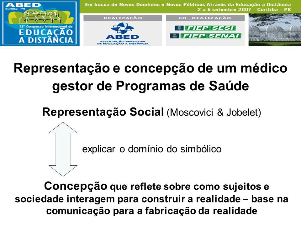 Representação e concepção de um médico gestor de Programas de Saúde Representação Social (Moscovici & Jobelet) explicar o domínio do simbólico Concepç