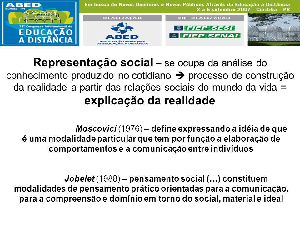 Representação social – se ocupa da análise do conhecimento produzido no cotidiano processo de construção da realidade a partir das relações sociais do