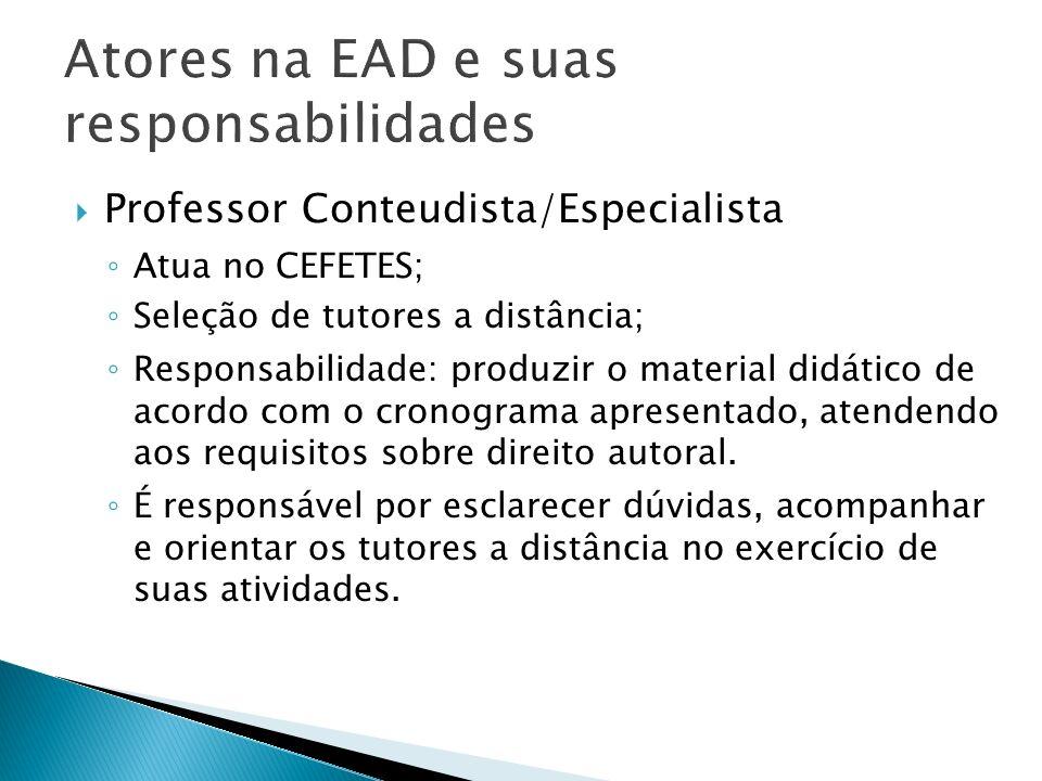 Professor Conteudista/Especialista Atua no CEFETES; Seleção de tutores a distância; Responsabilidade: produzir o material didático de acordo com o cro