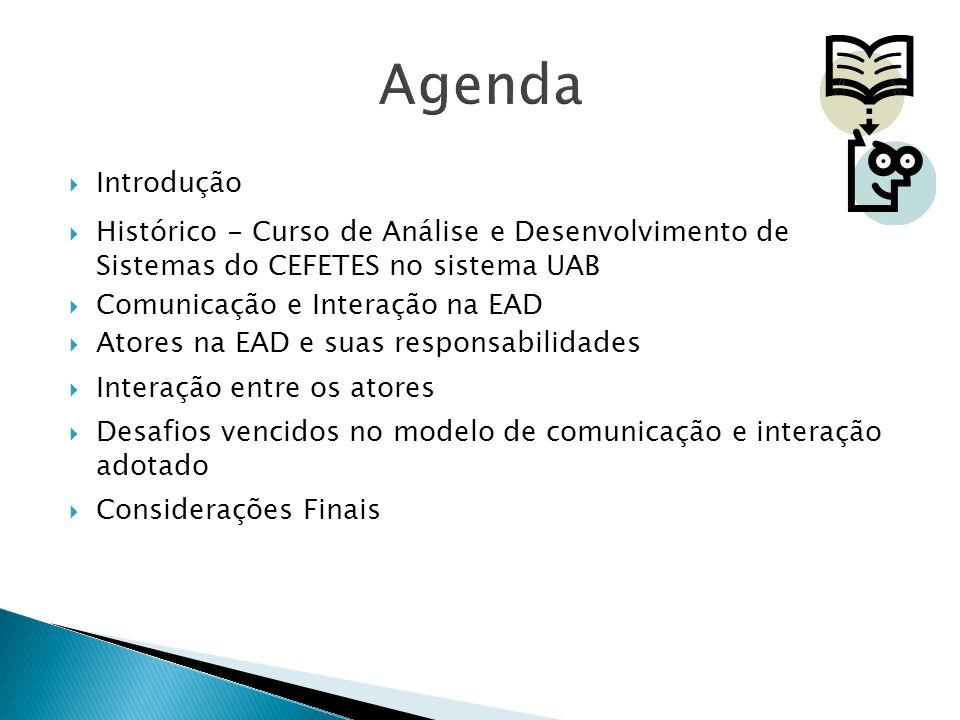 Introdução Histórico - Curso de Análise e Desenvolvimento de Sistemas do CEFETES no sistema UAB Comunicação e Interação na EAD Atores na EAD e suas re