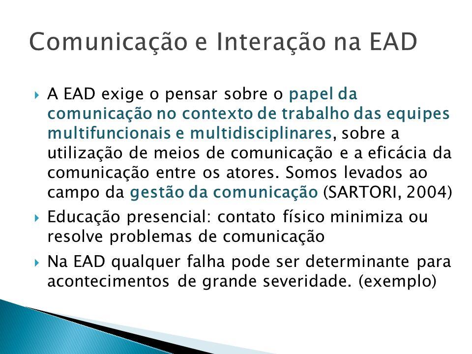 A EAD exige o pensar sobre o papel da comunicação no contexto de trabalho das equipes multifuncionais e multidisciplinares, sobre a utilização de meio