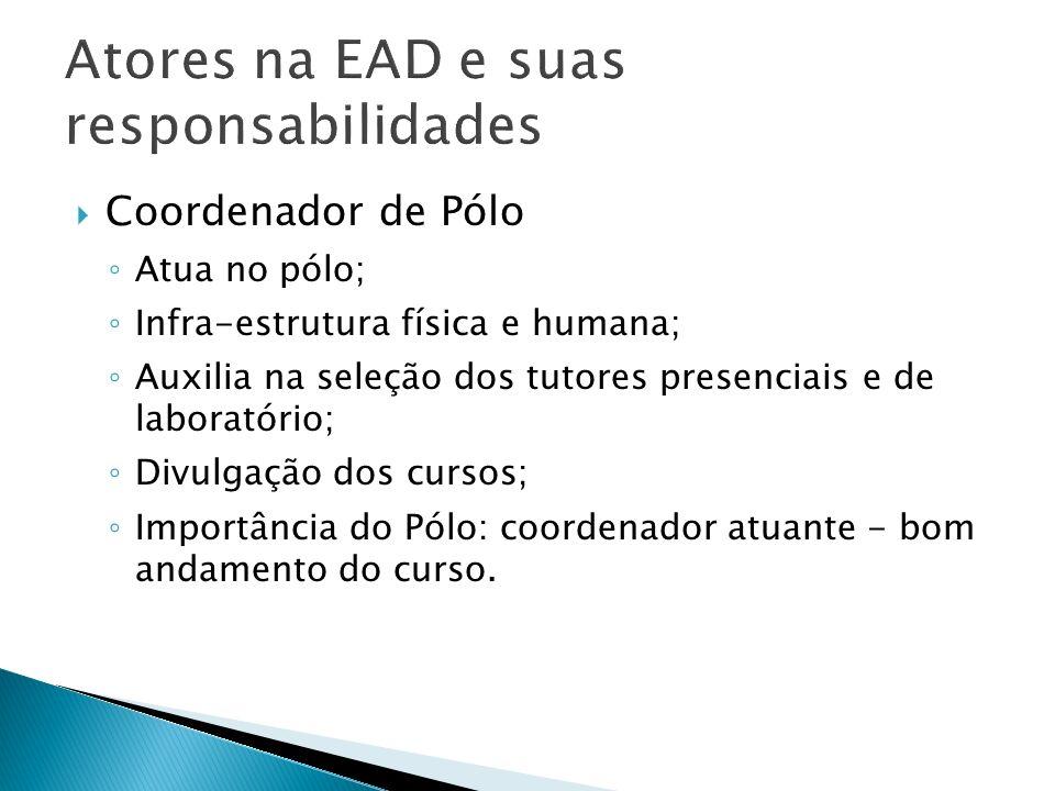 Coordenador de Pólo Atua no pólo; Infra-estrutura física e humana; Auxilia na seleção dos tutores presenciais e de laboratório; Divulgação dos cursos;