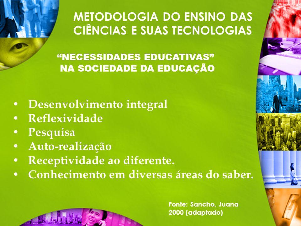 METODOLOGIA DO ENSINO DAS CIÊNCIAS E SUAS TECNOLOGIAS NECESSIDADES EDUCATIVAS NA SOCIEDADE DA EDUCAÇÃO Desenvolvimento integral Reflexividade Pesquisa
