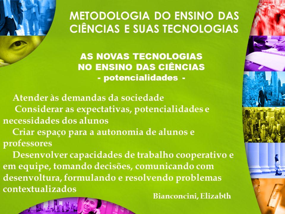 METODOLOGIA DO ENSINO DAS CIÊNCIAS E SUAS TECNOLOGIAS AS NOVAS TECNOLOGIAS NO ENSINO DAS CIÊNCIAS - potencialidades - Atender às demandas da sociedade