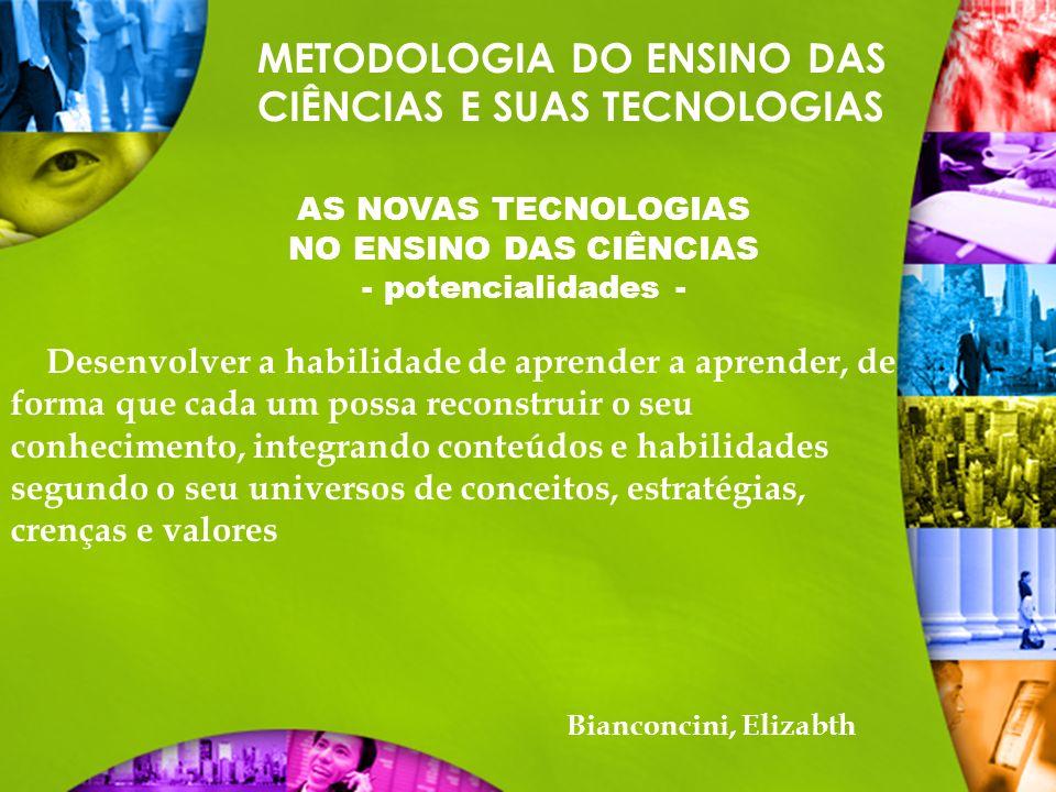METODOLOGIA DO ENSINO DAS CIÊNCIAS E SUAS TECNOLOGIAS AS NOVAS TECNOLOGIAS NO ENSINO DAS CIÊNCIAS - potencialidades - Desenvolver a habilidade de apre