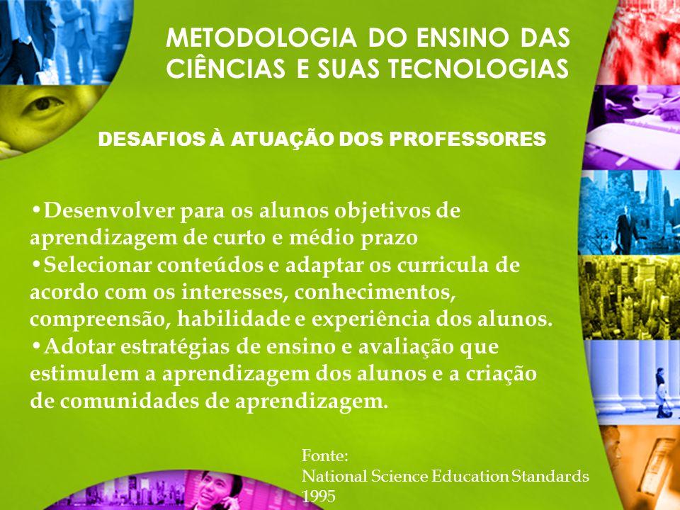 METODOLOGIA DO ENSINO DAS CIÊNCIAS E SUAS TECNOLOGIAS DESAFIOS À ATUAÇÃO DOS PROFESSORES Desenvolver para os alunos objetivos de aprendizagem de curto