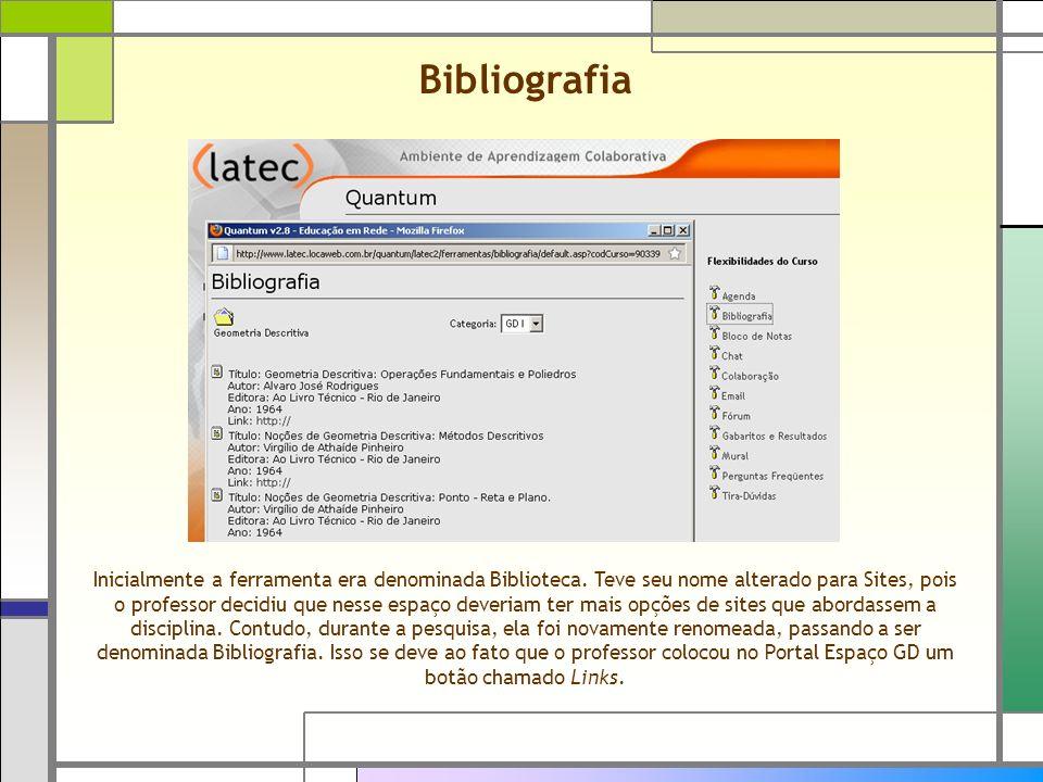 Inicialmente a ferramenta era denominada Biblioteca. Teve seu nome alterado para Sites, pois o professor decidiu que nesse espaço deveriam ter mais op