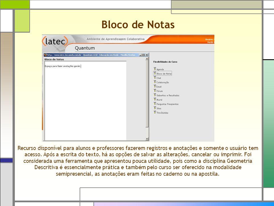 Bloco de Notas Recurso disponível para alunos e professores fazerem registros e anotações e somente o usuário tem acesso. Após a escrita do texto, há