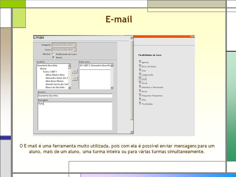 E-mail O E-mail é uma ferramenta muito utilizada, pois com ela é possível enviar mensagens para um aluno, mais de um aluno, uma turma inteira ou para