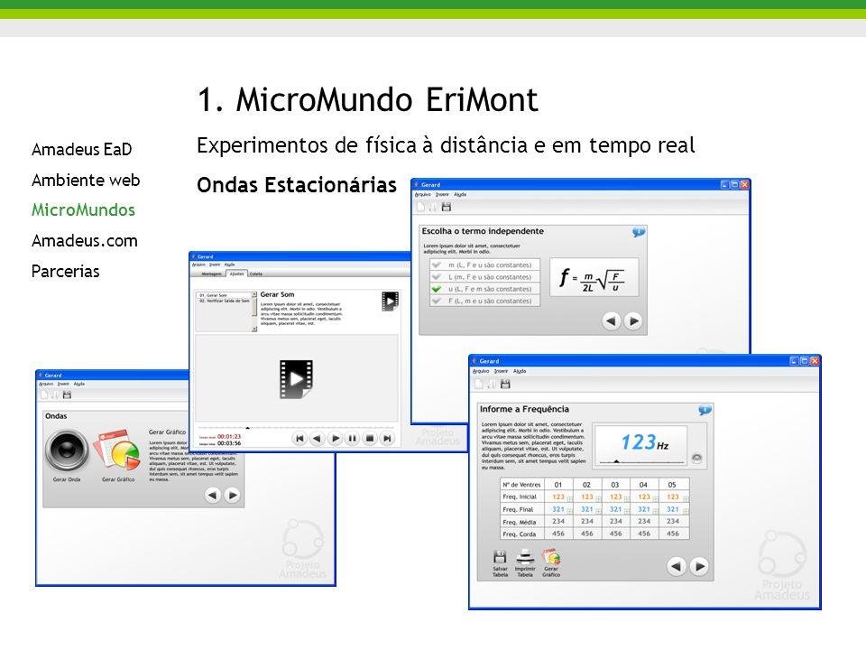 1. MicroMundo EriMont Experimentos de física à distância e em tempo real Ondas Estacionárias Amadeus EaD Ambiente web MicroMundos Amadeus.com Parceria