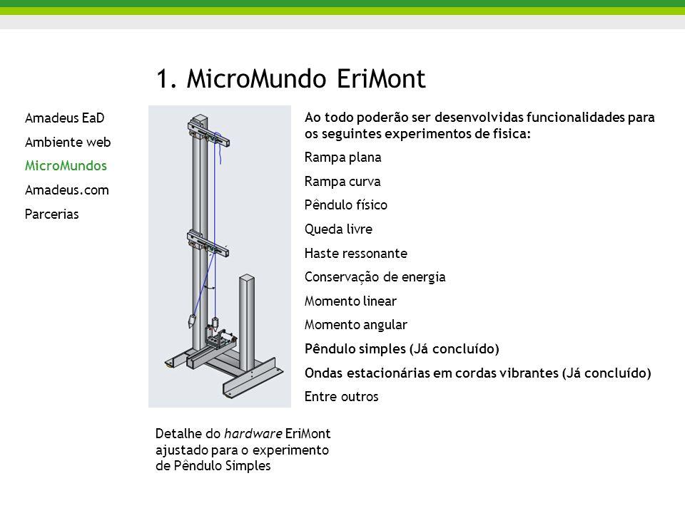 1. MicroMundo EriMont Ao todo poderão ser desenvolvidas funcionalidades para os seguintes experimentos de fisica: Rampa plana Rampa curva Pêndulo físi