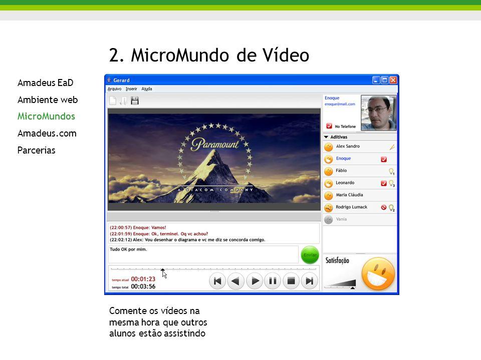 2. MicroMundo de Vídeo Comente os vídeos na mesma hora que outros alunos estão assistindo Amadeus EaD Ambiente web MicroMundos Amadeus.com Parcerias