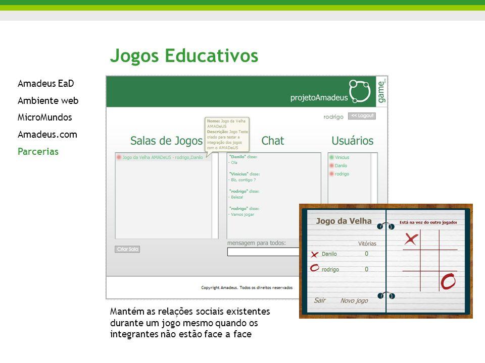 Jogos Educativos Mantém as relações sociais existentes durante um jogo mesmo quando os integrantes não estão face a face Amadeus EaD Ambiente web Micr