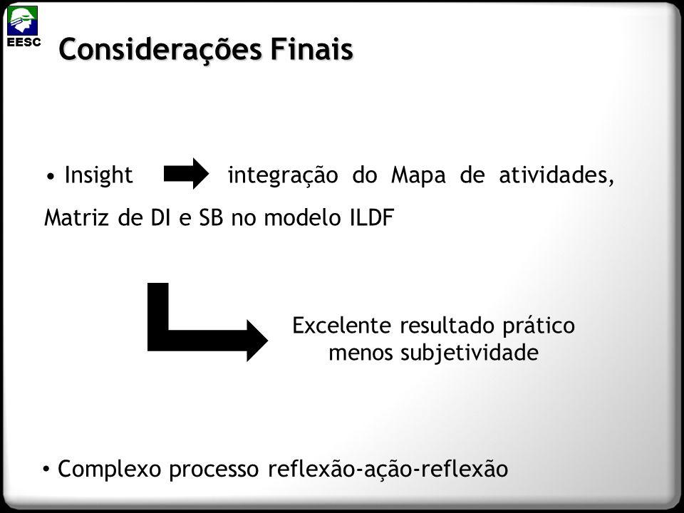 Insight integração do Mapa de atividades, Matriz de DI e SB no modelo ILDF Considerações Finais EESC Excelente resultado prático menos subjetividade C