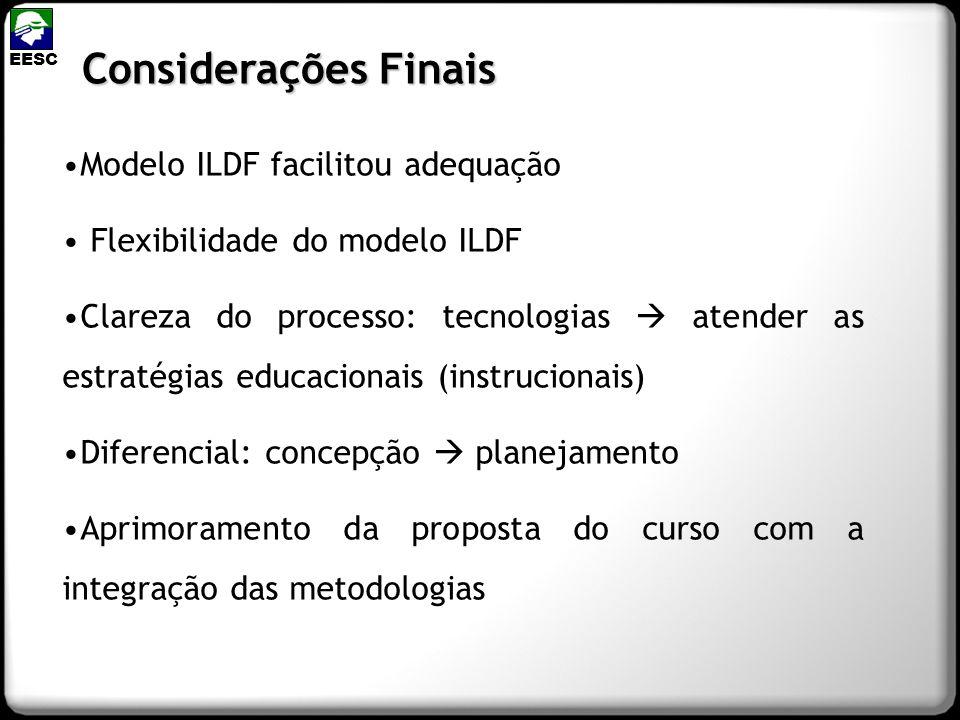 Modelo ILDF facilitou adequação Flexibilidade do modelo ILDF Clareza do processo: tecnologias atender as estratégias educacionais (instrucionais) Dife