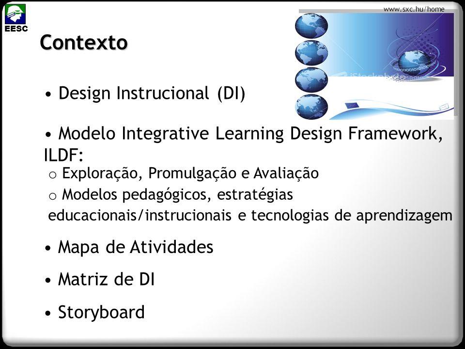 Contexto Design Instrucional (DI) Modelo Integrative Learning Design Framework, ILDF: EESC Mapa de Atividades Matriz de DI Storyboard o Exploração, Pr