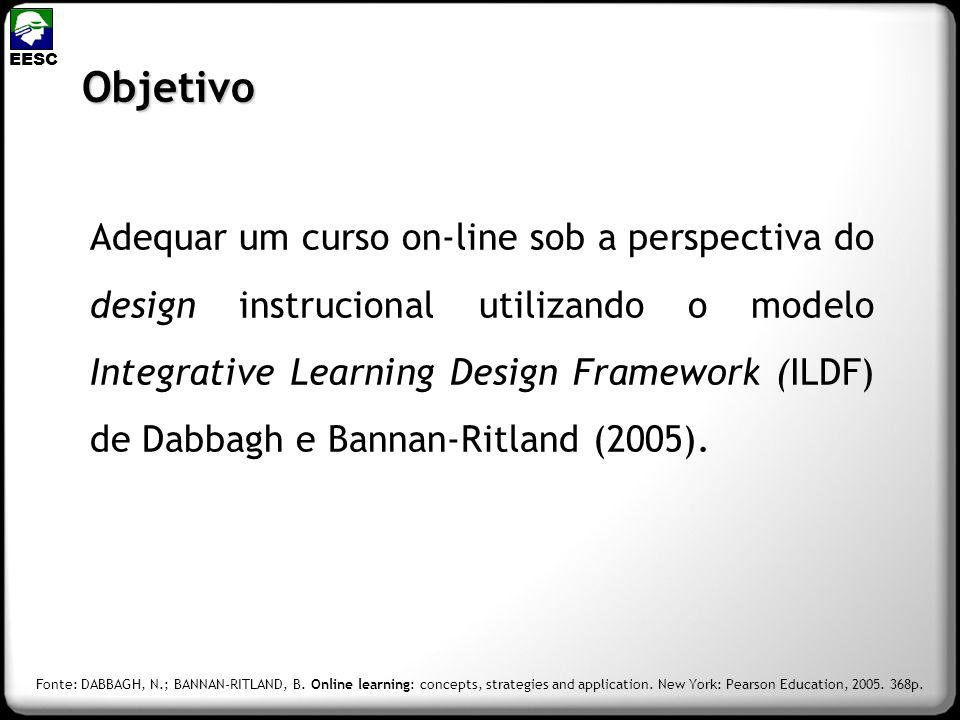 Objetivo Adequar um curso on-line sob a perspectiva do design instrucional utilizando o modelo Integrative Learning Design Framework (ILDF) de Dabbagh