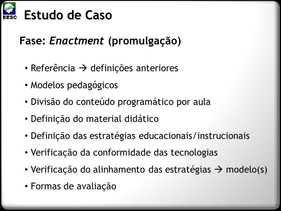 Fase: Enactment (promulgação) Estudo de Caso EESC Referência definições anteriores Modelos pedagógicos Divisão do conteúdo programático por aula Defin