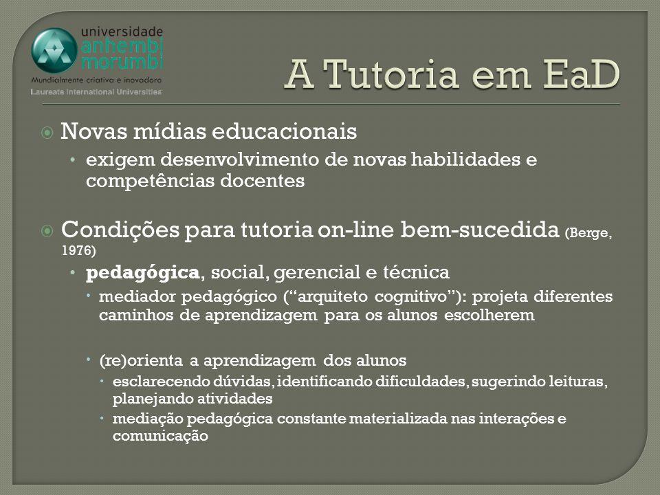 Novas mídias educacionais exigem desenvolvimento de novas habilidades e competências docentes Condições para tutoria on-line bem-sucedida (Berge, 1976