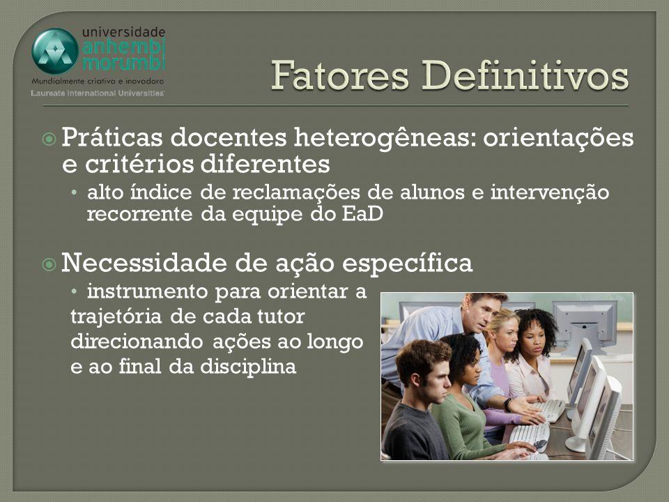 Práticas docentes heterogêneas: orientações e critérios diferentes alto índice de reclamações de alunos e intervenção recorrente da equipe do EaD Nece
