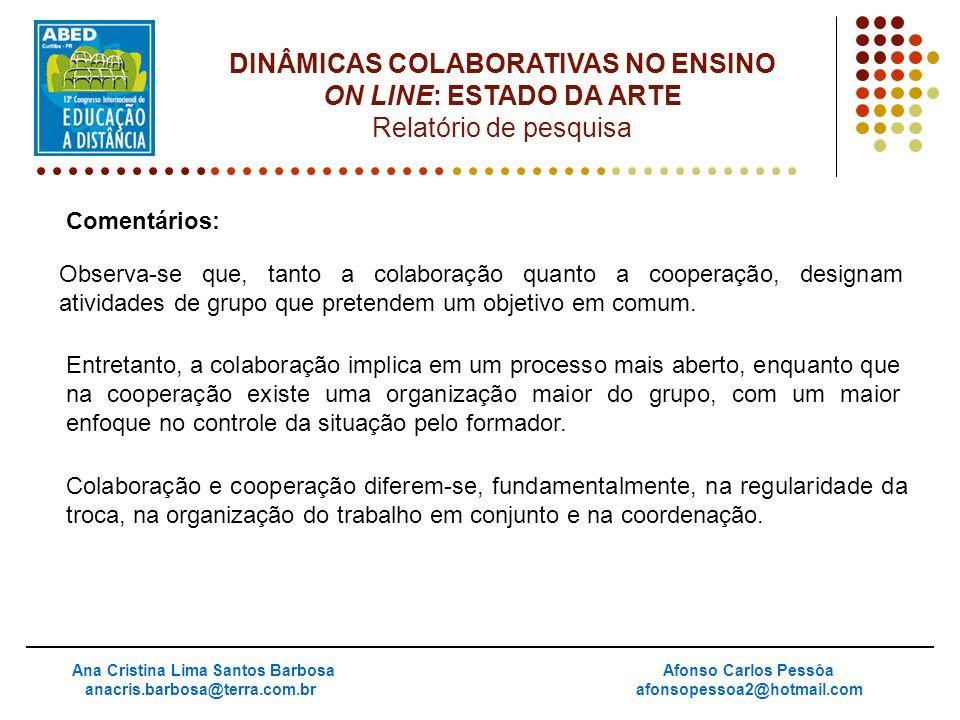 Comentários: Ana Cristina Lima Santos Barbosa anacris.barbosa@terra.com.br Afonso Carlos Pessôa afonsopessoa2@hotmail.com DINÂMICAS COLABORATIVAS NO E