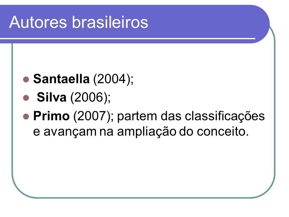 Autores brasileiros Santaella (2004); Silva (2006); Primo (2007); partem das classificações e avançam na ampliação do conceito.