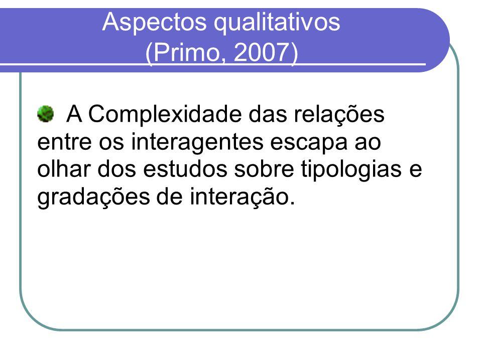 Aspectos qualitativos (Primo, 2007) A Complexidade das relações entre os interagentes escapa ao olhar dos estudos sobre tipologias e gradações de inte