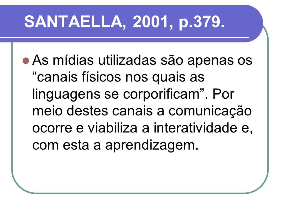 SANTAELLA, 2001, p.379. As mídias utilizadas são apenas os canais físicos nos quais as linguagens se corporificam. Por meio destes canais a comunicaçã