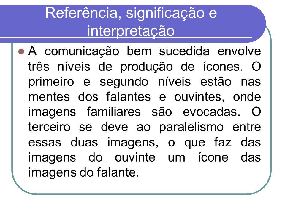 Referência, significação e interpretação A comunicação bem sucedida envolve três níveis de produção de ícones. O primeiro e segundo níveis estão nas m