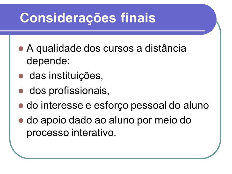 Considerações finais A qualidade dos cursos a distância depende: das instituições, dos profissionais, do interesse e esforço pessoal do aluno do apoio