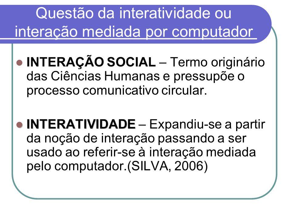 Questão da interatividade ou interação mediada por computador INTERAÇÃO SOCIAL – Termo originário das Ciências Humanas e pressupõe o processo comunica