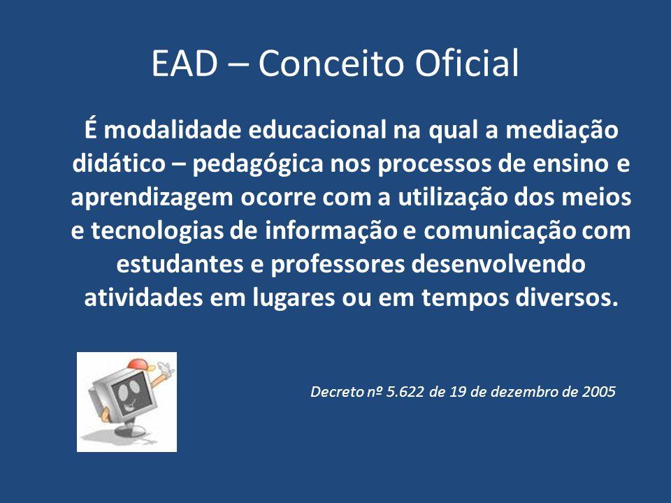 EAD – Conceito Oficial É modalidade educacional na qual a mediação didático – pedagógica nos processos de ensino e aprendizagem ocorre com a utilizaçã