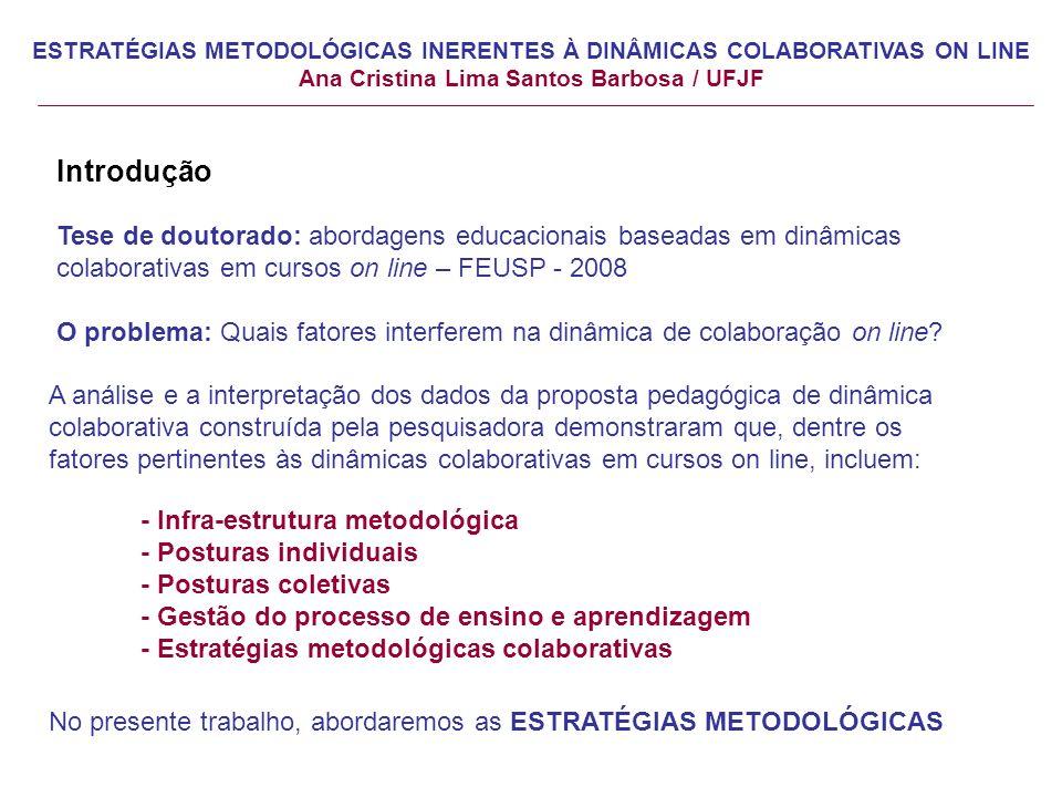 Introdução Tese de doutorado: abordagens educacionais baseadas em dinâmicas colaborativas em cursos on line – FEUSP - 2008 O problema: Quais fatores interferem na dinâmica de colaboração on line.