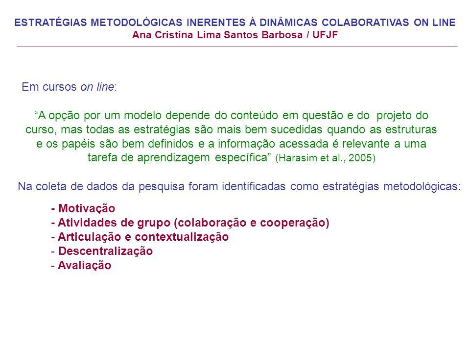 Em cursos on line: A opção por um modelo depende do conteúdo em questão e do projeto do curso, mas todas as estratégias são mais bem sucedidas quando as estruturas e os papéis são bem definidos e a informação acessada é relevante a uma tarefa de aprendizagem específica (Harasim et al., 2005) Na coleta de dados da pesquisa foram identificadas como estratégias metodológicas: - Motivação - Atividades de grupo (colaboração e cooperação) - Articulação e contextualização - Descentralização - Avaliação ESTRATÉGIAS METODOLÓGICAS INERENTES À DINÂMICAS COLABORATIVAS ON LINE Ana Cristina Lima Santos Barbosa / UFJF
